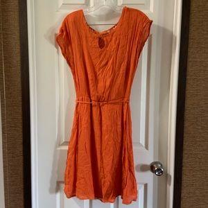 NewYork & Company Orange Crochet Back Detail Dress